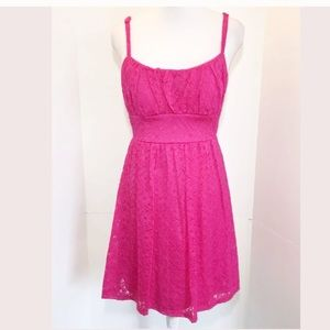 B. Smart 8 Hot Pink Lace Dress Floral Sun Flare
